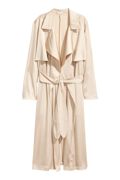 Satin trenchcoat - Light beige - Ladies | H&M