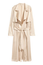 Satin trenchcoat - Light beige - Ladies | H&M CN 1