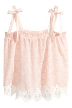 Top with smocking - Powder pink/Pattern - Ladies | H&M CN 2