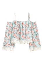 Off-the-shoulder blouse - Mint green/Floral -  | H&M 2