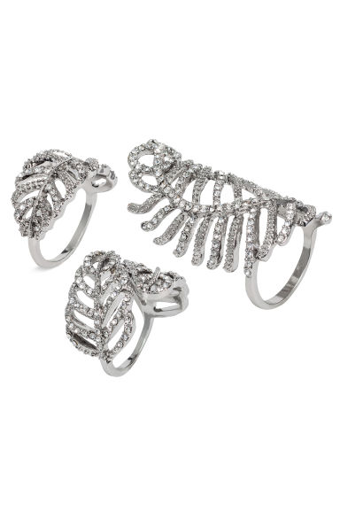 3-pack sparkly rings - Silver - Ladies | H&M 1