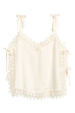 Strappy top with lace - Natural white - Ladies | H&M CN 2