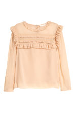 Frilled chiffon blouse - Powder beige - Ladies | H&M 2