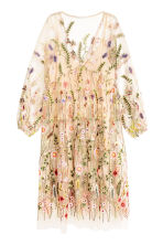 Embroidered dress - Powder beige/Floral - Ladies | H&M GB 2