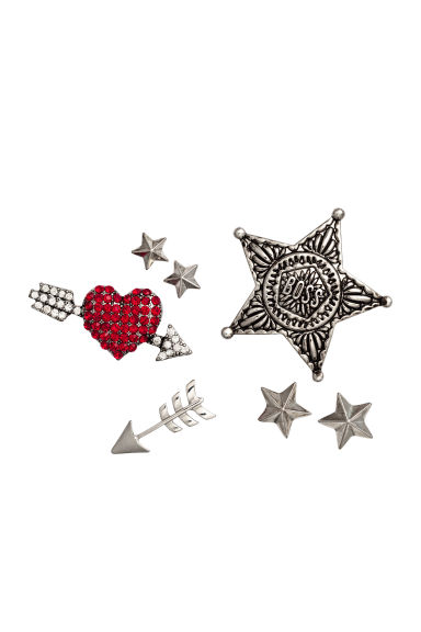 7-pack brooches - Silver - Ladies | H&M CN 1