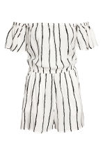Off-the-shoulder playsuit - Natural white/Striped -  | H&M 2