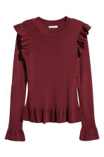 Jumper with flounces - Burgundy - Ladies | H&M 2