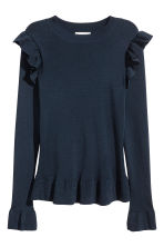 Jumper with flounces - Dark blue - Ladies | H&M 3