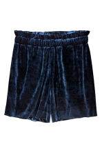 Velour shorts - Dark blue - Ladies | H&M CN 2