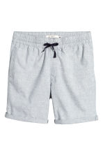 Knee-length cotton shorts - 深蓝色/青年布 - Men | H&M CN 1