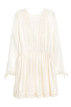 Dress with lace trim - Natural white - Ladies | H&M 2