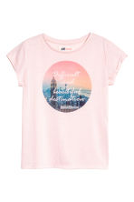 Printed top - Light pink -  | H&M 2