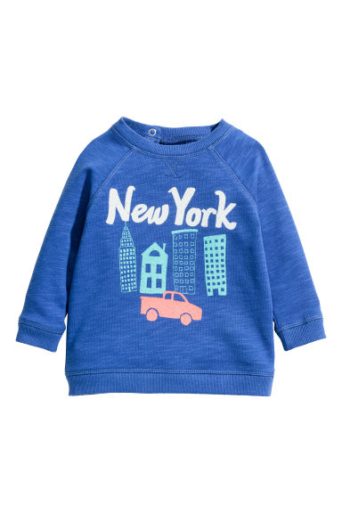 Printed sweatshirt - Cornflower blue/New York - Kids | H&M CN