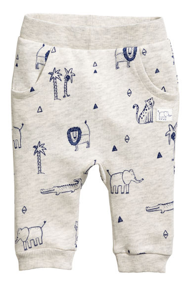 Patterned joggers - Light beige marl - Kids | H&M CA