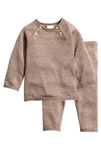 Fine-knit set in a silk blend - Mole - Kids | H&M 1