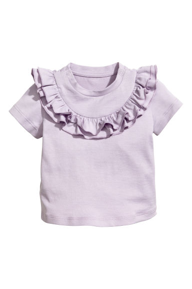 Top with a frilled yoke - Light duksy purple - Kids | H&M