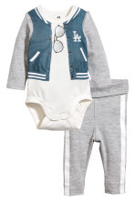 Bodysuit and trousers - Grey marl - Kids | H&M CN 1