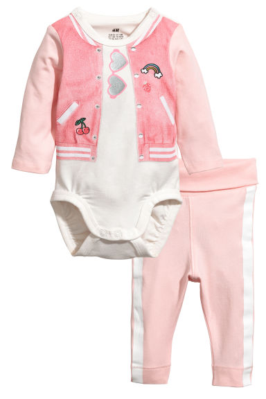 Bodysuit and trousers - Light pink - Kids | H&M 1