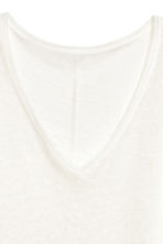 Linen V-neck top - White marl - Ladies | H&M 4