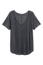 Linen V-neck top - Dark grey marl -  | H&M 3