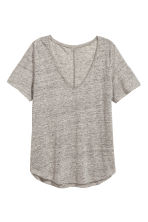 Linen V-neck top - Grey marl -  | H&M CN 2