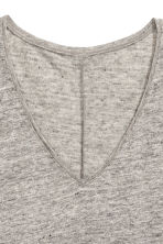 Linen V-neck top - Grey marl -  | H&M 3