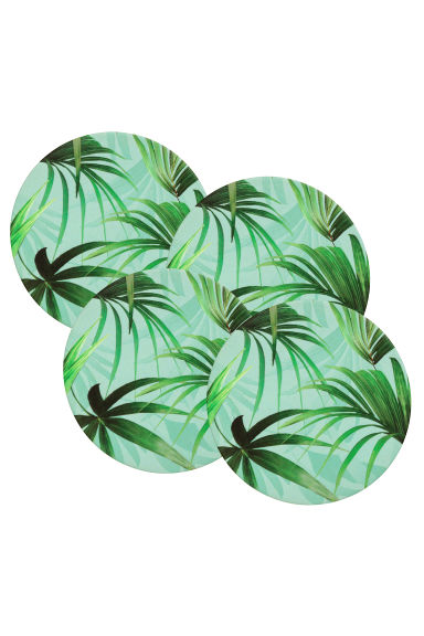 4-pack coasters - Mint green/Patterned - Home All | H&M CN 1