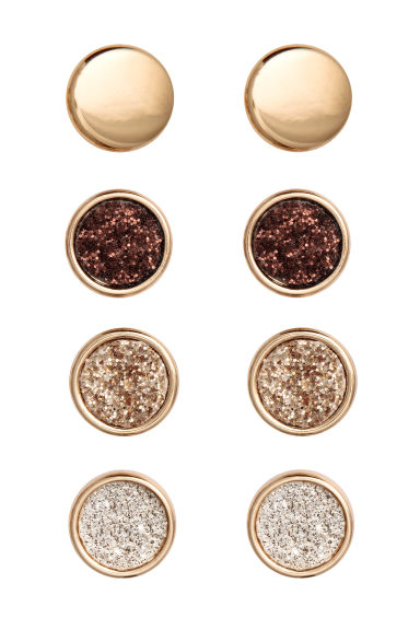 4 pairs round earrings - Gold - Ladies | H&M CN 1