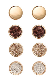 4 pairs round earrings