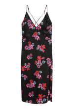 Slip dress - Black/Floral - Ladies | H&M CN 2