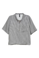 Short-sleeved shirt - Black/White/Checked - Ladies | H&M 2