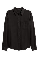 Straight-cut viscose shirt - Black - Men | H&M 2