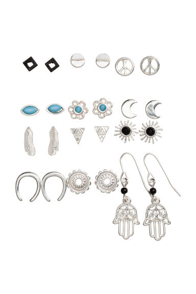12 pairs earrings - Silver - Ladies | H&M CN