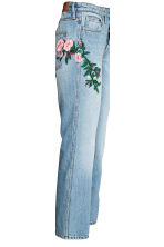 Straight High Ankle Jeans - Ljus denimblå/Blommig -  | H&M FI 3