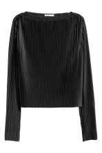 Pleated cropped top - Black - Ladies | H&M CN 2