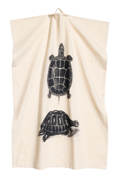 Tea towel with a motif - Natural white/Turtle - Home All | H&M CN 1