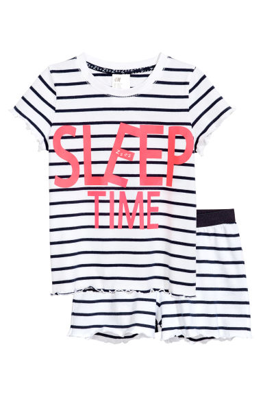 Jersey pyjamas - White/Dark blue/Striped -  | H&M 1