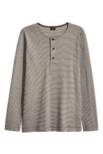 Cotton jersey Henley shirt - Dark grey/Striped - Men | H&M 2