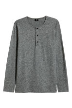 Cotton jersey Henley shirt - Dark grey marl - Men | H&M 2