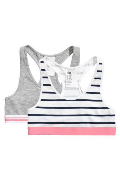 2-pack crop tops - Grey marl - Kids | H&M 1