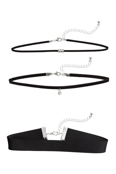 3-pack chokers - Black/Silver - Ladies | H&M 1