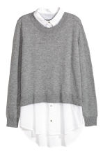 Jumper with a shirt collar - Grey marl/White - Ladies | H&M CN 2