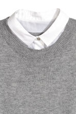 Jumper with a shirt collar - Grey marl/White - Ladies | H&M 3