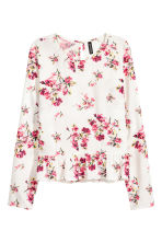 Blouse with a flounced hem - Natural white/Floral - Ladies | H&M CN 2