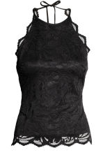 Lace halterneck top - Black - Ladies | H&M CN 2