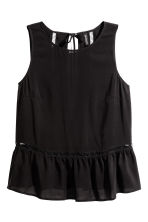 Hemstitch-embroidered top - Black - Ladies | H&M 2