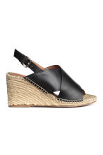 Wedge-heel sandals - Black - Ladies | H&M 1