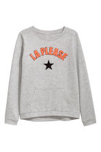 Sweatshirt with appliqués - Grey marl -  | H&M 2