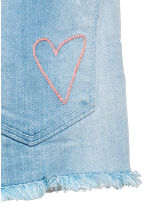 Denim shorts with embroidery - Light denim blue - Kids | H&M CN 4