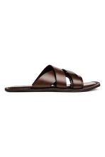 Slip-on leather mules - Dark brown - Men | H&M 2